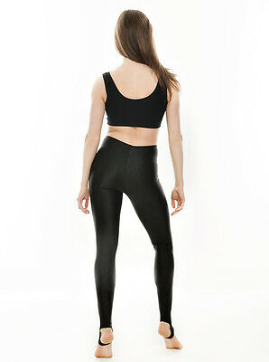 ea14741a2 ... Ladies Girls Black Lycra Shiny Stirrup Dance Gym Ballet Leggings By  Katz KDT001 4