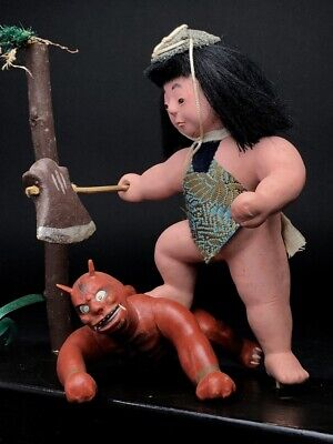 2 Antique NINGYO Japanese Dolls Boy KINTARO Defeats the Red Demon AKAONI 2