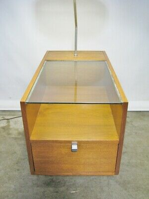 1950s George Nelson For Herman Miller Table Lamp With Glass Top & Single Drawer' 3