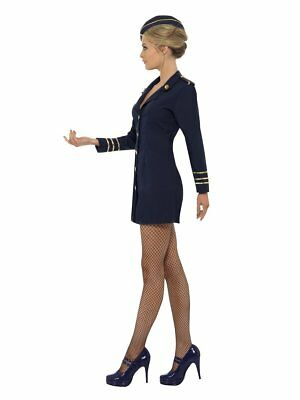 Ladies Navy assistente di volo AIR HOSTESS Cabin Crew Costume UK 8-14