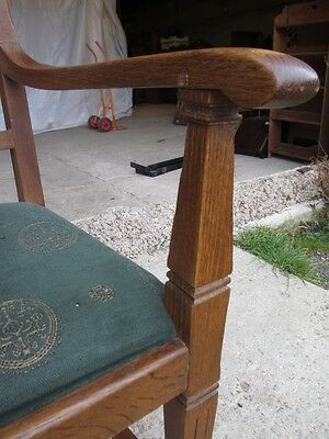 Pair of Edwardian Oak Arts & Crafts Open Carver Armchairs (429) 7