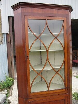 Georgian Inlaid Mahogany and Glazed 2 Part Standing Corner Cabinet Cupboard 417 5