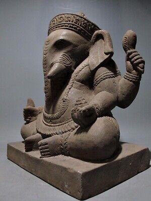 Antique Buddha Sculpture Khmer Sandstone Ganesha Figure Bayon Style 18/19Th C 5