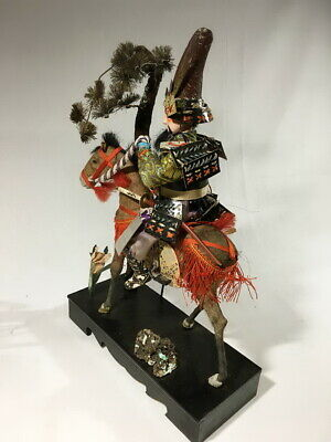 36cm Japanese Antique SAMURAI Armor YOROI Doll with Horse 6