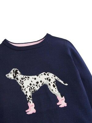 Joules Girls Meryl Intarsia Jumper - Ages 5 - 12 - Colours Deep Pink - Dalmation 6