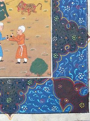 Antique Persian Hand Painted Miniature Islamic Illustration Script Tiger Hunt