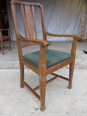 Pair of Edwardian Oak Arts & Crafts Open Carver Armchairs (429)