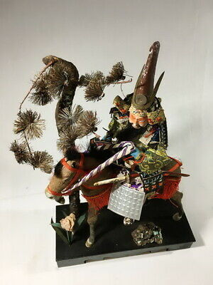 36cm Japanese Antique SAMURAI Armor YOROI Doll with Horse 5