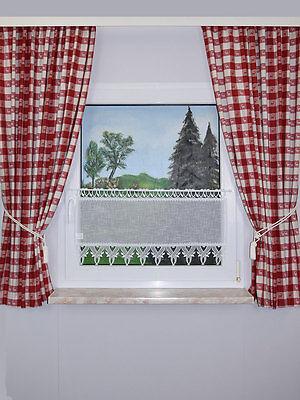 dekoschal karo in rot landhaus kariert bergardine vorhang mit reihband eur 49 90 picclick de. Black Bedroom Furniture Sets. Home Design Ideas