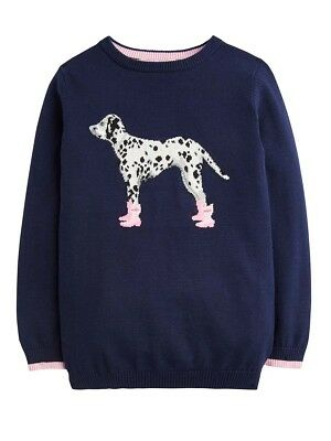 Joules Girls Meryl Intarsia Jumper - Ages 5 - 12 - Colours Deep Pink - Dalmation 5