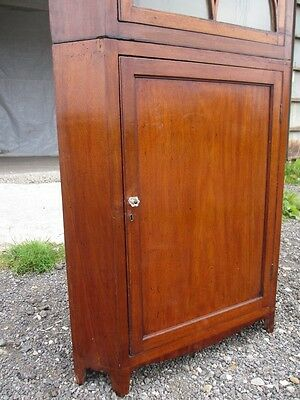 Georgian Inlaid Mahogany and Glazed 2 Part Standing Corner Cabinet Cupboard 417 6