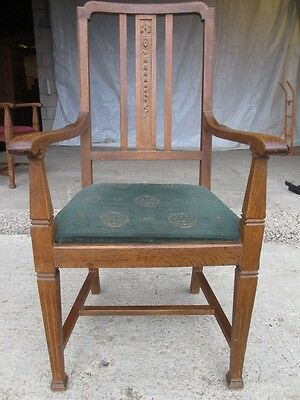 Pair of Edwardian Oak Arts & Crafts Open Carver Armchairs (429) 4