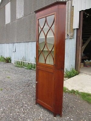 Georgian Inlaid Mahogany and Glazed 2 Part Standing Corner Cabinet Cupboard 417 3