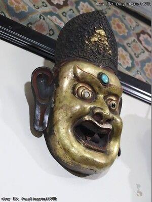 Nepal Monastery Old Red Copper Gold Gilt Jambhala Mahakala Buddha God Head Mask 6