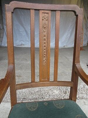 Pair of Edwardian Oak Arts & Crafts Open Carver Armchairs (429) 6