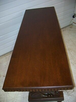 Beautiful Antique American Oak  Winged Griffin Couch Table 3