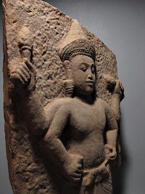 Sculpture Khmer Sandstone Narayana Figure Sanctum Wall Stone Relic 'Angkor Wat' 2