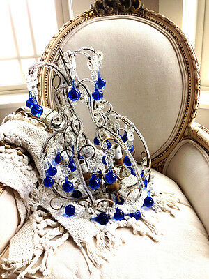 Rare Incredible Antique Italian Beaded Chandelier Blue Drops Gorgeous 3