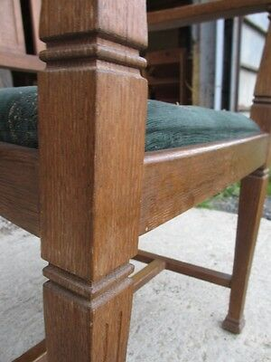 Pair of Edwardian Oak Arts & Crafts Open Carver Armchairs (429) 12