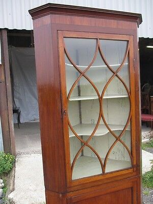 Georgian Inlaid Mahogany and Glazed 2 Part Standing Corner Cabinet Cupboard 417