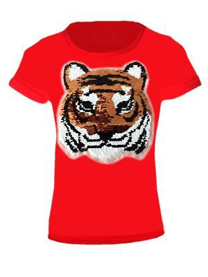 Kids Emoji Tiger Emoticon Stallion T-Shirt TEE TOP Brush Changing Sequin 3-14 YR