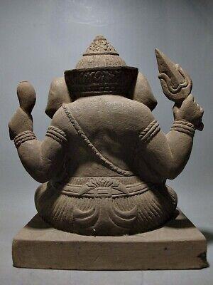 Antique Buddha Sculpture Khmer Sandstone Ganesha Figure Bayon Style 18/19Th C 6