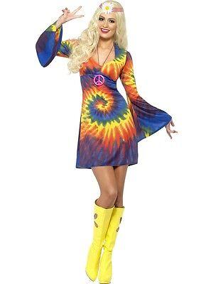 Ladies Mens Free Spirit Tie Dye Hippy Fancy Dress Costume Couples Hippie 70s 60s
