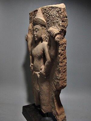 Sculpture Khmer Sandstone Narayana Figure Sanctum Wall Stone Relic 'Angkor Wat' 3