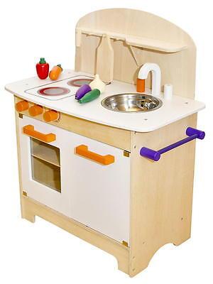 Kinderküche aus Holz Spielküche Küche Kinder Spielzeug Holzküche weiß orange NEU 2