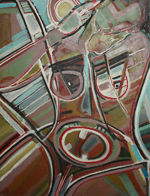Vintage expressionist cubist large oil painting signed 2