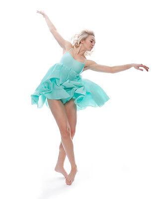 Donne Ragazze Verde Menta Lirico Abito Contemporaneo Balletto Danza Costume 3