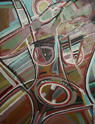 Vintage expressionist cubist large oil painting signed 4