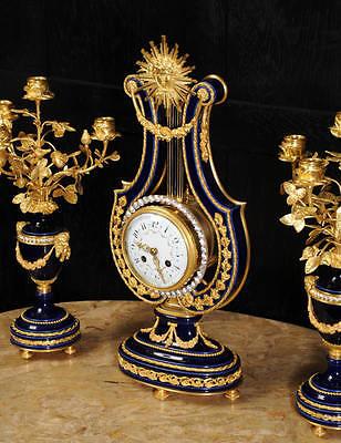 Fine Cobalt Blue Ormolu Louis Xvi Lyre Clock Set Mystery Jewelled Pendulum Bezel 5