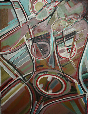 Vintage expressionist cubist large oil painting signed 6