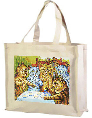 Louis Wain Garden Toasting Cats Cotton Shopping Bag With Gusset Choice of Cols.