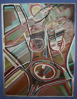 Vintage expressionist cubist large oil painting signed 3