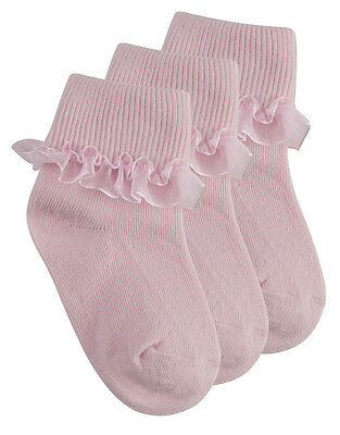 Tick Tock Baby Girls Cotton Rich Frilly Lace Top Socks 2