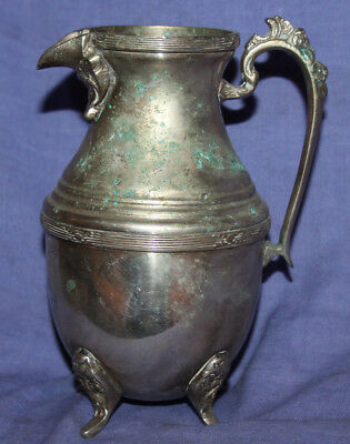 Antique ornate silver plated footed milk jug creamer pitcher 3