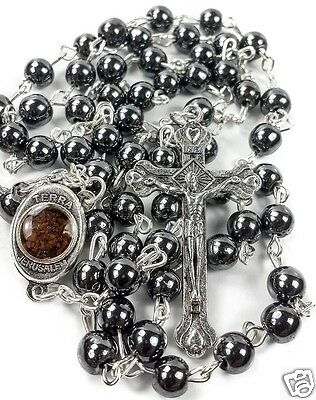 Hematite Rosary Black Stone Beads Necklace Jerusalem Holy Soil Cross Crucifix 2