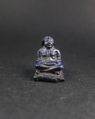 Rare ancient Egyptian lapis lazuli miniature carved figure of a scribe 5
