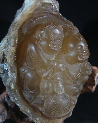 Superb Chinese transparent amber colour soapstone boulder carving 3