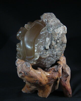 Superb Chinese transparent amber colour soapstone boulder carving 7