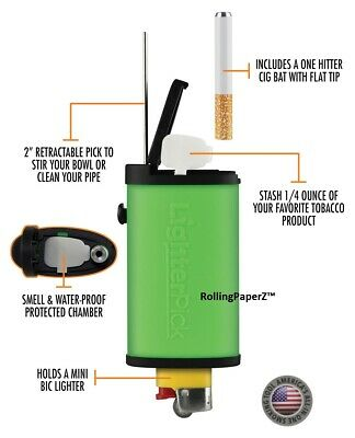 New! BLACK LIGHTERPICK Tobacco Dugout Smoking System - Water Tight & Smell Proof 5