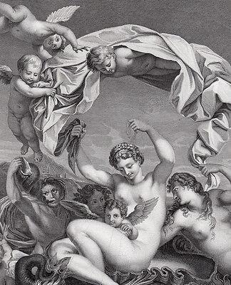 "Charming DOMENICHINO SIGNED 1800s Engraving ""Triumph of Galatea"" Framed COA LOOK"