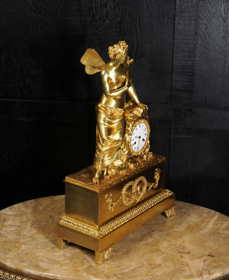 EARLY FINE BRONZE DORE ORMOLU ANTIQUE FRENCH CLOCK PSYCHE and the BUTTERFLY 1820 9