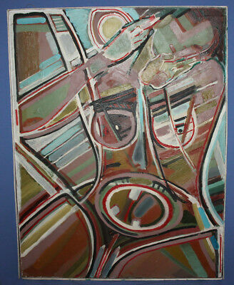 Vintage expressionist cubist large oil painting signed 5