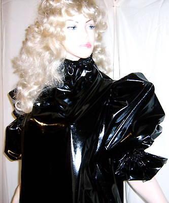 Lackkleid lang enger Kragen Zofe Rüschenärmel Vinyldress Narrow high Collar Maid 7