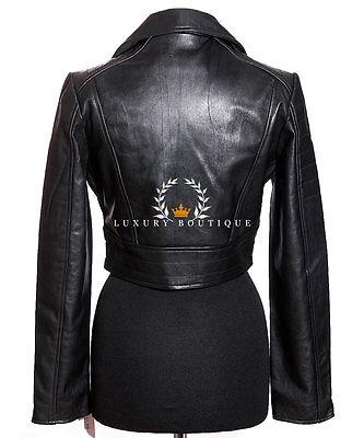 625ea3e92537 ... Missy Noir Taillée Femmes Biker Mode Vrai Cuir Nappa Mouton Veste Courte  4