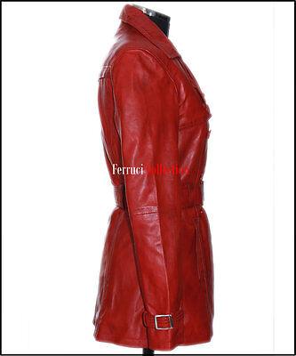 FELICIA femme cuir Trench coat rouge véritable agneau Veste