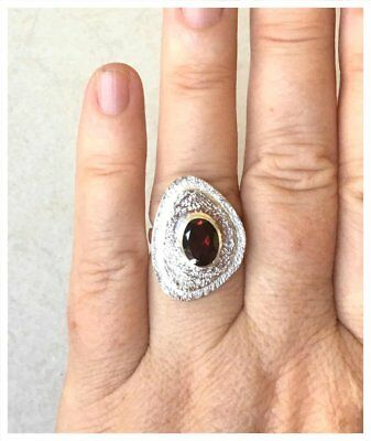 925 Sterling Silver HESSONITE GARNET Semi Precious GEMSTONE RING SZ N1/2 - US 7 4